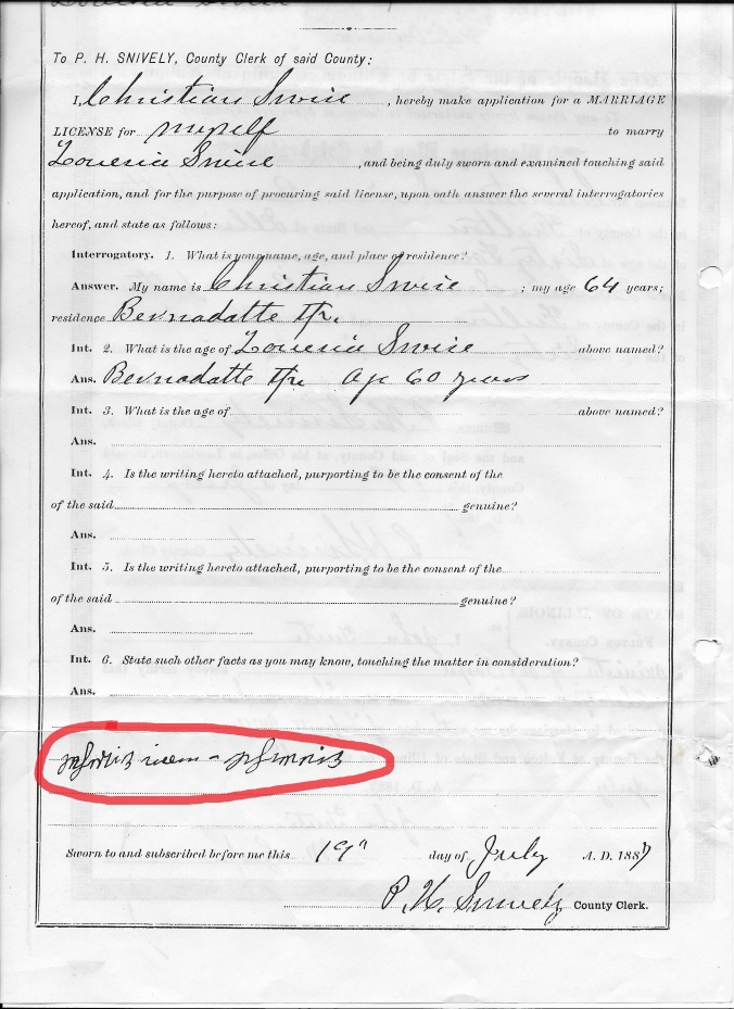 Christian Swise marriage certificate_marked